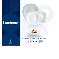 Komplet obiadowy Carine 18-elementowy biało-szary LUMINARC