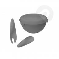 Miska plastikowa z przykrywką + kpl. łyżek 3 l SZARA