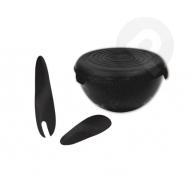 Miska plastikowa z przykrywką + kpl. łyżek 6 l kosmos czarny