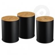 Zestaw 3 pojemników - czarny