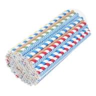 Słomki papierowe ekologiczne 8 mm 100 sztuk mix