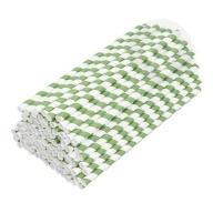 Słomki papierowe ekologiczne 8 mm 100 sztuk biało-zielone