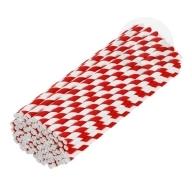 Słomki papierowe ekologiczne 6 mm 100 sztuk biało-czerwone