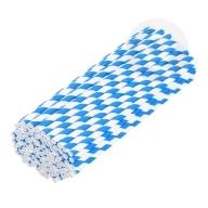 Słomki papierowe ekologiczne 6 mm 100 sztuk biało-niebieskie