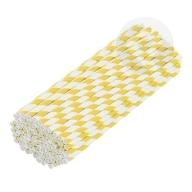Słomki papierowe ekologiczne 6 mm 100 sztuk biało-żółte